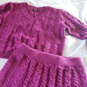 Fuchsia candle knit skirt set